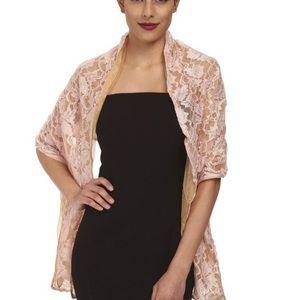 Betsey Johnson lace wrap shawl blush beige EUC